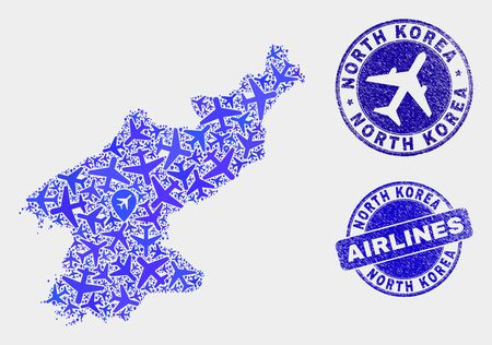 Aircraft vector North Korea map composition and scratched stamps. Abstract North Korea map is formed with blue flat randomized aircraft symbols and map markers. Shipping scheme in blue colors,