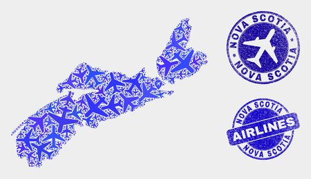 Aviation vector Nova Scotia Province map mosaic and grunge stamps. Abstract Nova Scotia Province map is done with blue flat randomized aviation symbols and map locations.