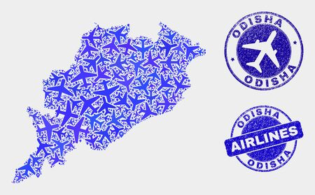 Air plane vector Odisha State map composition and grunge watermarks. Abstract Odisha State map is formed from blue flat random air plane symbols and map pointers. Tourism scheme in blue colors,