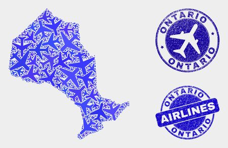 Airline vector Ontario Province map collage and grunge seals. Abstract Ontario Province map is formed from blue flat random airline symbols and map locations. Shipping scheme in blue colors,
