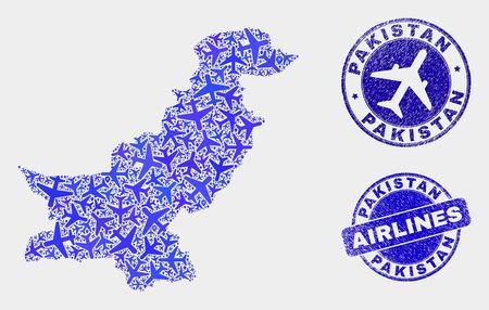 Airplane vector Pakistan map collage and scratched watermarks. Abstract Pakistan map is designed from blue flat randomized airplane symbols and map locations. Shipping plan in blue colors, Ilustrace
