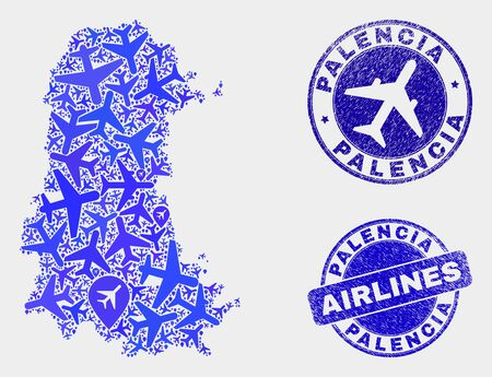 Airline vector Palencia Province map composition and scratched seals. Abstract Palencia Province map is constructed from blue flat random airline symbols and map locations. Ilustrace