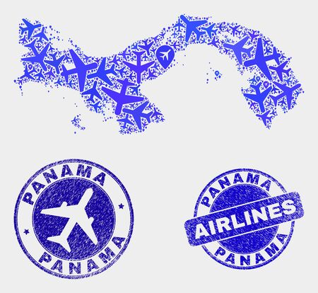 Aviation vector Panama map composition and grunge watermarks. Abstract Panama map is organized with blue flat random airlines symbols and map locations. Transport scheme in blue colors, Ilustrace