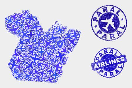 Airline vector Paral State map composition and grunge seals. Abstract Paral State map is constructed of blue flat randomized airplane symbols and map locations. Flight scheme in blue colors,