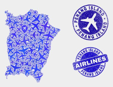 Airplane vector Penang Island map composition and grunge watermarks. Abstract Penang Island map is organized with blue flat scattered airplane symbols and map markers. Delivery plan in blue colors,