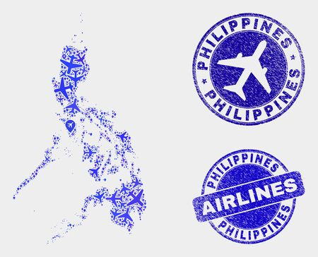 Air plane vector Philippines map mosaic and scratched stamps. Abstract Philippines map is created of blue flat random air plane symbols and map locations. Transport scheme in blue colors, Ilustrace