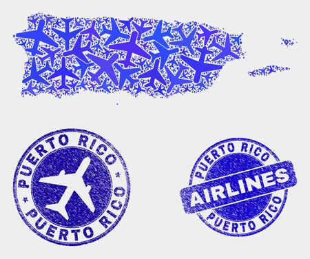 Airline vector Puerto Rico map collage and grunge seals. Abstract Puerto Rico map is designed of blue flat randomized airlines symbols and map markers. Delivery scheme in blue colors, Ilustração