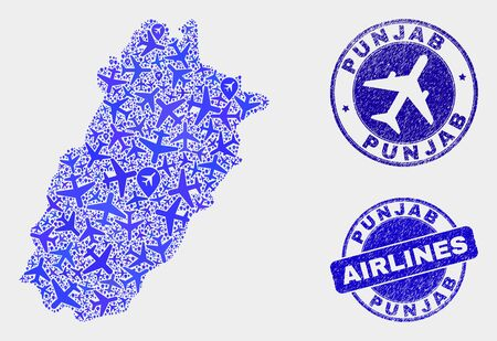 Air plane vector Punjab Province map composition and scratched seals. Abstract Punjab Province map is created with blue flat random airlines symbols and map pointers. Transport scheme in blue colors,