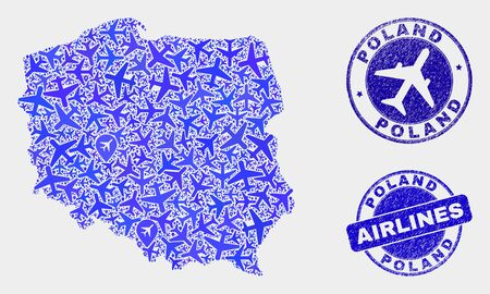 Airplane vector Poland map mosaic and grunge seals. Abstract Poland map is formed with blue flat random airplane symbols and map markers. Shipping scheme in blue colors, and rounded stamp seals.