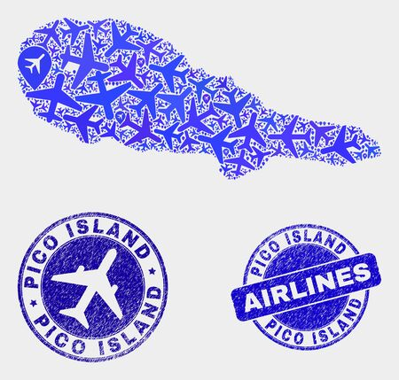 Airlines vector Pico Island map collage and grunge seals. Abstract Pico Island map is organized with blue flat scattered airlines symbols and map pointers. Tourism scheme in blue colors,