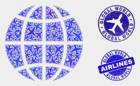 Aviation vector planet globe composition and scratched seals. Abstract planet globe is created from blue flat scattered airline symbols and map markers. Tourism plan in blue colors, and rounded seals.