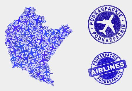 Aircraft vector Podkarpackie Voivodeship map mosaic and scratched seals. Abstract Podkarpackie Voivodeship map is organized with blue flat scattered aircraft symbols and map markers. Stock Illustratie