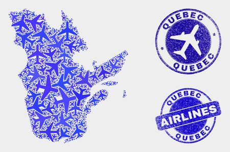 Aircraft vector Quebec Province map mosaic and grunge stamps. Abstract Quebec Province map is formed with blue flat scattered aircraft symbols and map locations. Shipping plan in blue colors, Illustration