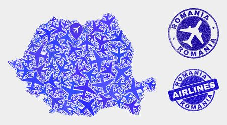 Airlines vector Romania map collage and grunge seals. Abstract Romania map is constructed of blue flat random airlines symbols and map locations. Flight plan in blue colors, and rounded watermarks.