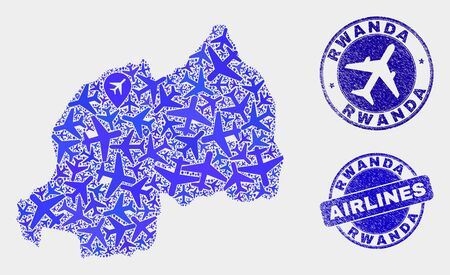 Airlines vector Rwanda map mosaic and grunge stamps. Abstract Rwanda map is created from blue flat randomized airplane symbols and map markers. Transport plan in blue colors, and rounded stamps.