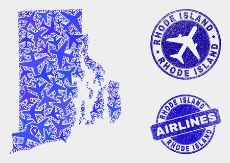 Aircraft vector Rhode Island State map mosaic and grunge seals. Abstract Rhode Island State map is done of blue flat randomized airline symbols and map locations. Tourism plan in blue colors, Ilustrace