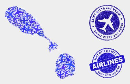 Aircraft vector Saint Kitts and Nevis map collage and scratched watermarks. Abstract Saint Kitts and Nevis map is organized from blue flat random aviation symbols and map pointers.