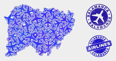 Aircraft vector Salamanca Province map mosaic and scratched seals. Abstract Salamanca Province map is formed of blue flat randomized aircraft symbols and map markers. Shipping scheme in blue colors, Illustration