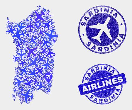 Aircraft vector Sardinia map collage and scratched seals. Abstract Sardinia map is composed from blue flat random aircraft symbols and map pointers. Shipping scheme in blue colors, and rounded seals.