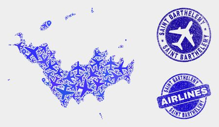 Airplane vector Saint Barthelemy map mosaic and scratched stamps. Abstract Saint Barthelemy map is organized with blue flat scattered airplane symbols and map markers. Shipping scheme in blue colors, Ilustração