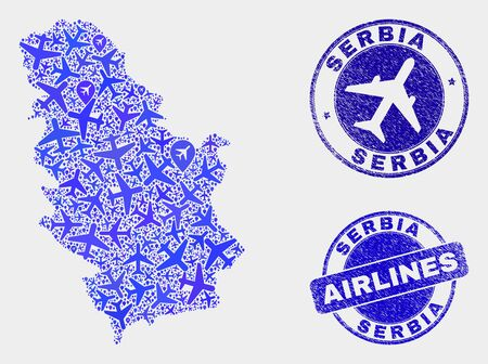 Aviation vector Serbia map composition and scratched stamps. Abstract Serbia map is composed of blue flat randomized airlines symbols and map locations. Transport plan in blue colors, Ilustração