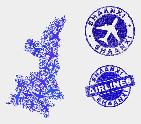 Airline vector Shaanxi Province map mosaic and grunge stamps. Abstract Shaanxi Province map is composed of blue flat scattered airline symbols and map pointers. Delivery plan in blue colors, Stock Illustratie