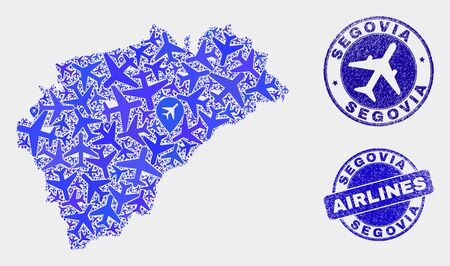 Airplane vector Segovia Province map collage and scratched stamps. Abstract Segovia Province map is designed from blue flat random airplane symbols and map markers. Transport plan in blue colors,