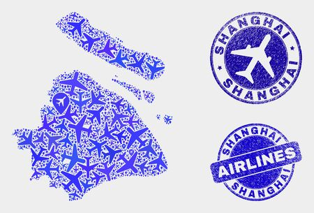 Aircraft vector Shanghai City map collage and grunge seals. Abstract Shanghai City map is formed with blue flat random aircraft symbols and map markers. Delivery scheme in blue colors,