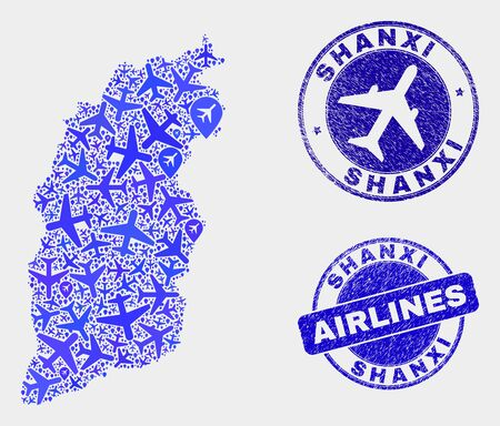 Aviation vector Shanxi Province map collage and scratched watermarks. Abstract Shanxi Province map is designed from blue flat scattered air plane symbols and map pointers. Tourism plan in blue colors,