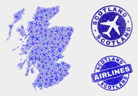 Aircraft vector Scotland map collage and grunge watermarks. Abstract Scotland map is composed of blue flat randomized aircraft symbols and map locations. Tourism scheme in blue colors, Ilustração
