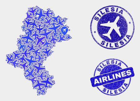 Air plane vector Silesian Voivodeship map collage and grunge stamps. Abstract Silesian Voivodeship map is done of blue flat randomized air plane symbols and map pointers.