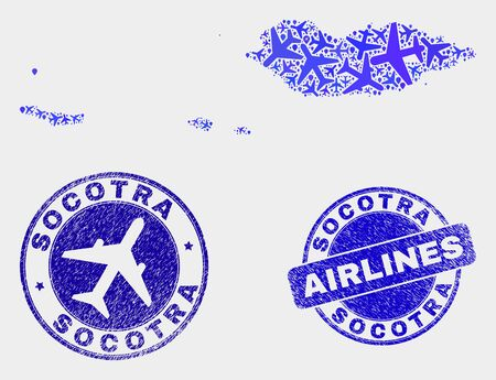 Air plane vector Socotra Archipelago map composition and scratched seals. Abstract Socotra Archipelago map is done with blue flat random air plane symbols and map markers.