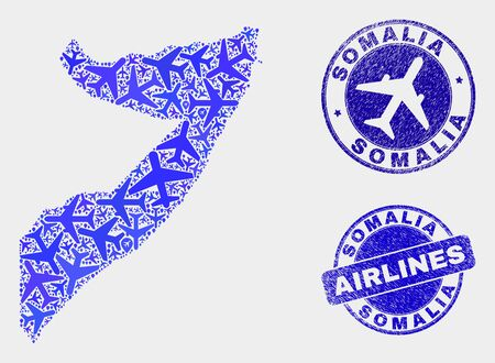 Airline vector Somalia map mosaic and scratched watermarks. Abstract Somalia map is formed of blue flat scattered airline symbols and map markers. Transport plan in blue colors, Ilustração