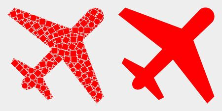 Dotted and flat airplane icons. Vector mosaic of airplane organized of irregular square dots and spheric dots.