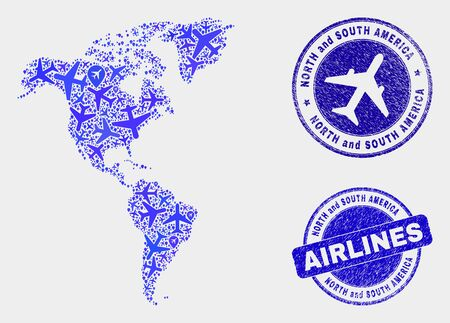 Airlines vector South and North America map collage and grunge seals. Abstract South and North America map is organized from blue flat scattered airlines symbols and map locations.