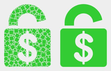 Dot and flat bank lock icons. Vector mosaic of bank lock formed of irregular square pixels and round pixels. Ilustrace