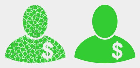 Dot and flat banker icons. Vector mosaic of banker created of randomized dots and round dots.