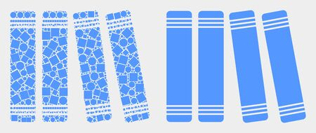 Dot and flat books icons. Vector mosaic of books formed of scattered square elements and spheric elements. Illustration