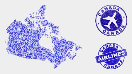 Airlines vector Canada map composition and scratched seals. Abstract Canada map is constructed with blue flat randomized airlines symbols and map pointers. Delivery scheme in blue colors,