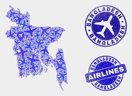 Airline vector Bangladesh map collage and scratched stamps. Abstract Bangladesh map is designed from blue flat randomized airline symbols and map markers. Flight scheme in blue colors, Ilustração