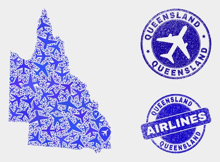 Aviation vector Australian Queensland map mosaic and grunge stamps. Abstract Australian Queensland map is organized with blue flat random aviation symbols and map locations.