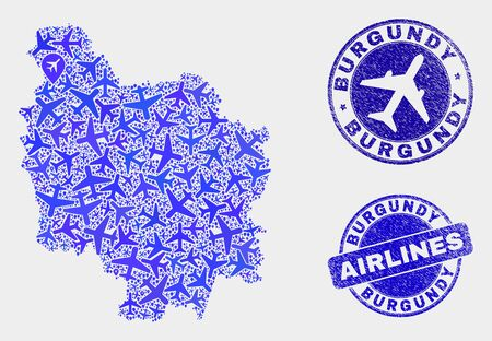 Airline vector Burgundy Province map composition and scratched watermarks. Abstract Burgundy Province map is created of blue flat randomized airplane symbols and map pointers.