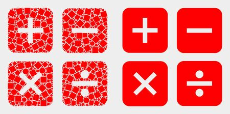 Pixel and flat calculator icons. Vector mosaic of calculator organized of scattered small rectangles and circle dots. Ilustração