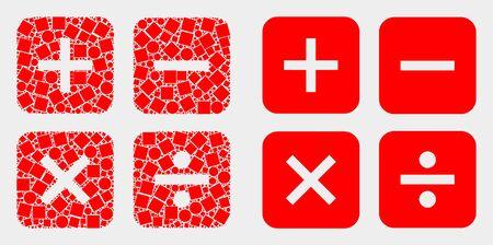 Pixel und flache Rechnersymbole. Vektormosaik des Taschenrechners, organisiert aus verstreuten kleinen Rechtecken und Kreispunkten.