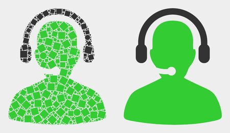 Pixel and flat call center operator icons. Vector mosaic of call center operator formed of random dots and round dots.