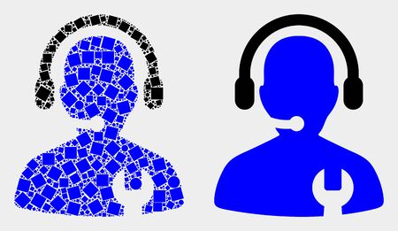 Pixel and flat call center serviceman icons. Vector mosaic of call center serviceman designed of irregular square elements and spheric elements. Illustration