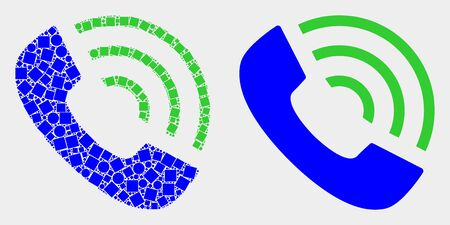 Dot and flat call phone icons. Vector mosaic of call phone composed of irregular square dots and spheric elements. Ilustrace
