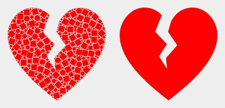Dotted and flat broken heart icons. Vector mosaic of broken heart designed of irregular small rectangles and round pixels. Ilustração