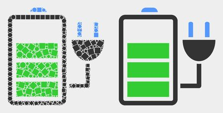 Pixel and flat charge battery icons. Vector mosaic of charge battery designed of irregular square particles and circle pixels.
