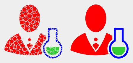 Dot and flat chemical scientist icons. Vector mosaic of chemical scientist designed of randomized rectangle elements and round dots.